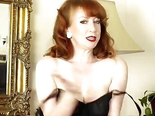 Ginger-haired Finger Fucks Raw Cooch In Retro Look Nylons Girdle...
